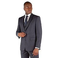 Hammond & Co. by Patrick Grant - Blue grey stripe 2 button front st james 3 piece suit