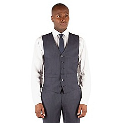 Hammond & Co. by Patrick Grant - Blue grey stripe 6 button front st james suit waistcoat