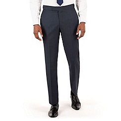 Hammond & Co. by Patrick Grant - Blue birdseye flat front tailored fit savile row suit trouser