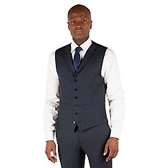 Hammond & Co. by Patrick Grant - Blue birdseye 6 button front tailored fit savile row suit waistcoat
