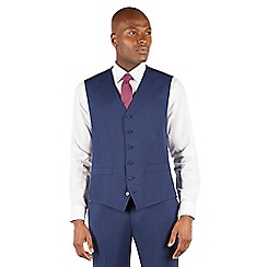Stvdio by Jeff Banks - Blue plain 6 button front ivy league suit waistcoat