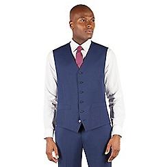 Stvdio by Jeff Banks - Blue plain 6 button front ivy league suit waistcoat