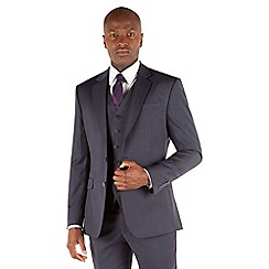 Stvdio by Jeff Banks - Blue grey semi plain 2 button front ivy league suit jacket