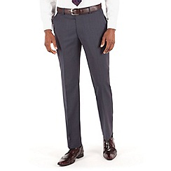 Stvdio by Jeff Banks - Blue grey semi plain flat front ivy league suit trouser