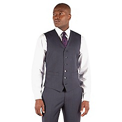 Stvdio by Jeff Banks - Blue grey semi plain ivy league suit waistcoat