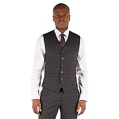 Stvdio by Jeff Banks - Charcoal check 6 button front tailored fit suit waistcoat