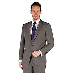 Jeff Banks - Grey nail head 1 button front regular fit black label suit jacket