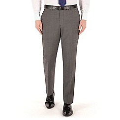 Jeff Banks - Grey nail head plain front regular fit black label suit trouser