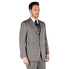 Jeff Banks - Grey prince of wales check 2 button front regular fit black label suit