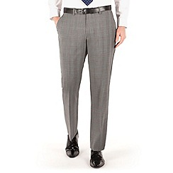 Jeff Banks - Grey prince of wales check plain front regular fit black label suit trouser