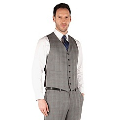 Jeff Banks - Grey prince of wales check 6 button front regular fit black label suit waistcoat