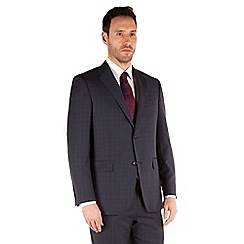 Jeff Banks - Blue check 2 button front regular fit black label suit jacket