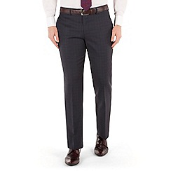 Jeff Banks - Blue check plain front regular fit black label suit trouser