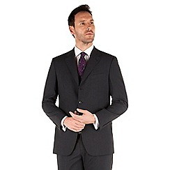 Jeff Banks - Navy mini check 3 button front regular fit black label suit jacket