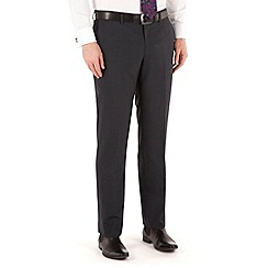 Jeff Banks - Navy mini check plain front regular fit black label suit trouser