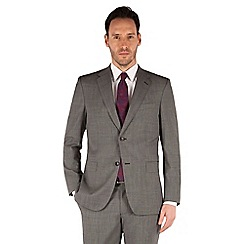 Jeff Banks - Grey textured 2 button front regular fit luxury suit jacket