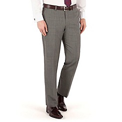 Jeff Banks - Grey textured plain front regular fit luxury suit trouser