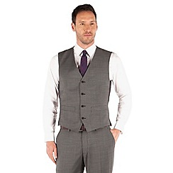 J by Jasper Conran - Charcoal pindot 4 button front tailored fit business suit waistcoat