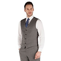 J by Jasper Conran - Grey check 4 button front tailored fit business suit waistcoat