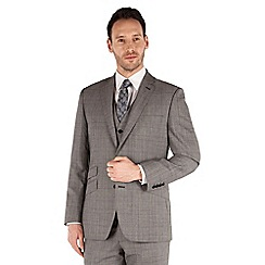 J by Jasper Conran - Grey heritage textured check 2 button front tailored fit luxury suit jacket