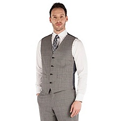 J by Jasper Conran - Grey heritage textured check 4 button front tailored fit suit waistcoat