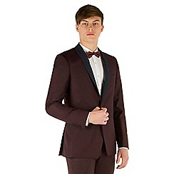 Red Herring - Deep plum twill with navy shawl slim fit 1 button suit