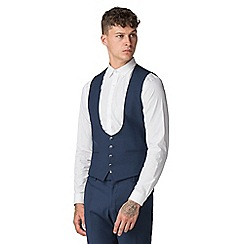 Red Herring - Sapphire blue twill slim fit 4 button waistcoat