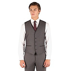 Red Herring - Mid grey pindot slim fit 5 button waistcoat