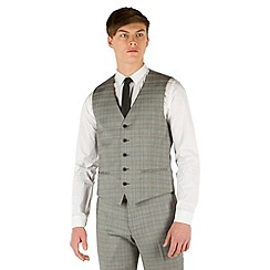 Red Herring - Grey heritage check slim fit 5 button waistcoat