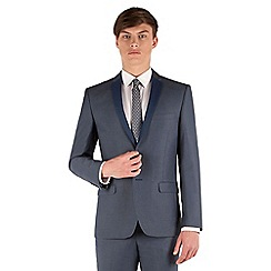Red Herring - Blue semi plain with contrast lapel slim fit 2 button suit