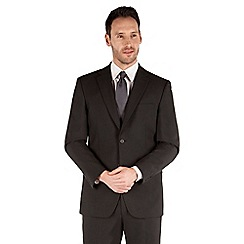 Karl Jackson - Plain black panama 2 button front regular fit washable suit jacket