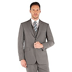 Karl Jackson - Mid grey panama 2 button front regular fit washable suit jacket