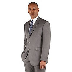 Centaur Big & Tall - Mid grey pindot big and tall 2 button front regular fit suit