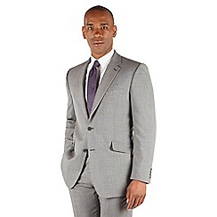 Centaur Big & Tall - Grey semi plain big and tall 2 button regular fit suit jacket
