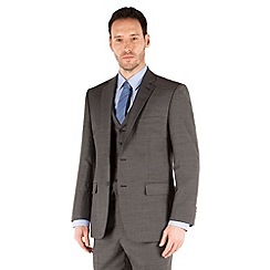 Racing Green - Charcoal pick and pick regular fit 2 button suit jacket