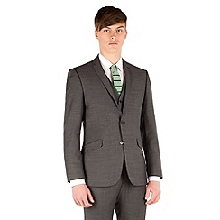 Racing Green - Charcoal pick and pick slim fit 2 button suit jacket