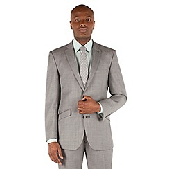 Racing Green - Light grey pick and pick tailored fit 2 button suit jacket