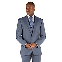 Racing Green - Petrol blue pick and pick tailored fit 2 button suit jacket