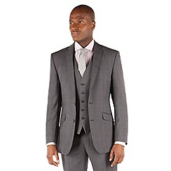 Racing Green - Grey tonal check tailored fit 2 button suit jacket