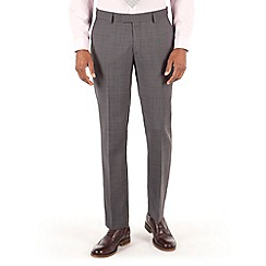 Racing Green - Grey tonal check plain front tailored fit suit trouser