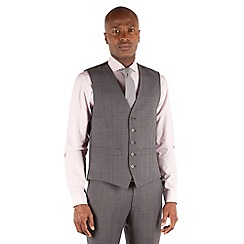 Racing Green - Grey tonal check 5 button front tailored fit suit waistcoat