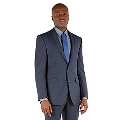 Racing Green - Deep blue tonal check tailored fit 2 button suit jacket