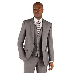 Racing Green - Grey semi plain tailored fit 2 button suit jacket
