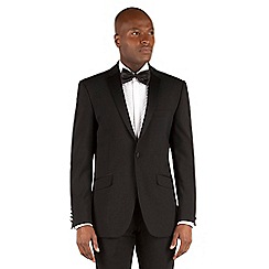 Racing Green - Black plain weave tailored fit 1 button dresswear Suit
