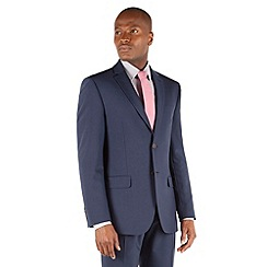 Racing Green - Blue panama tailored fit 2 button suit jacket.