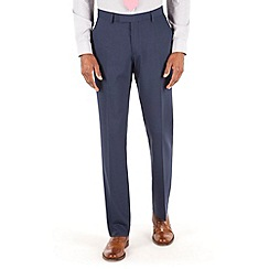 Racing Green - Blue panama tailored fit suit trouser.
