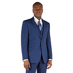 BEN SHERMAN - Bright blue panama 2 button front slim fit kings suit jacket