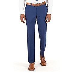 BEN SHERMAN - Bright blue panama plain front slim fit kings suit trouser