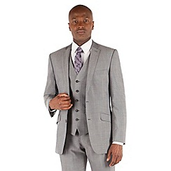 BEN SHERMAN - Silver grey panama 2 button front slim fit kings suit jacket