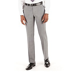 BEN SHERMAN - Silver grey panama plain front slim fit kings suit trouser